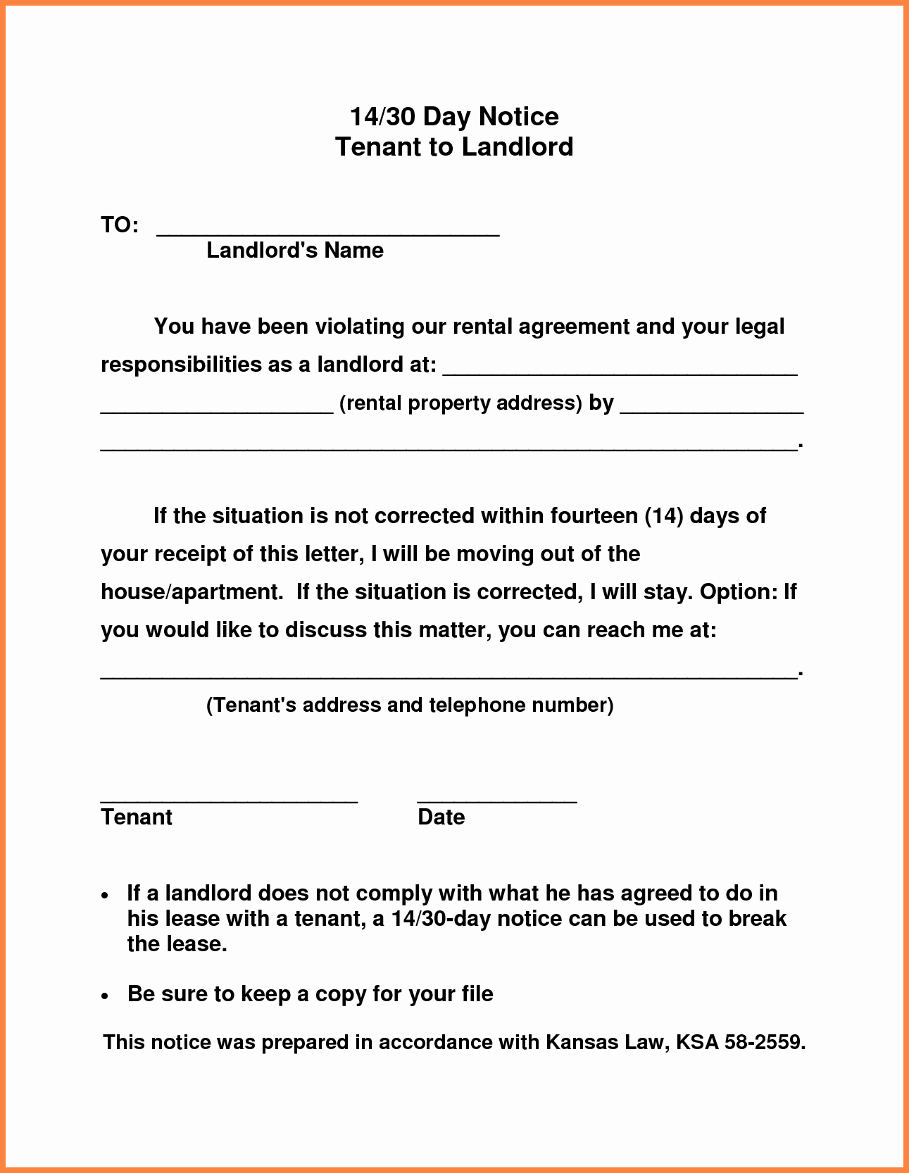 30 Days Notice Letter Inspirational 10 Example Of 30 Day Notice to Tenant