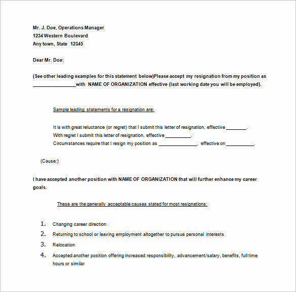 30 Days Notice Letter New 11 Notice Of Resignation Letter Templates Doc Pdf