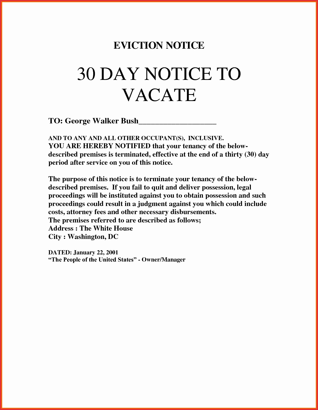 30 Days Notice Letter New 30 Day Eviction Letter Template Collection