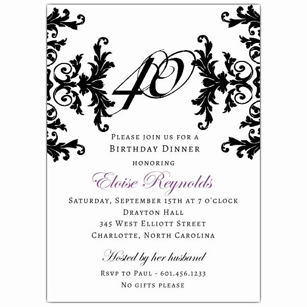 40th Birthday Invitation Wording Beautiful Black and White Decorative Framed 40th Birthday