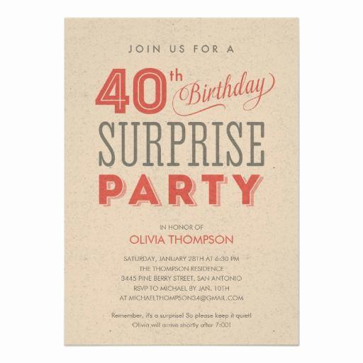 40th Birthday Invitation Wording Best Of Surprise 40th Birthday Invitations Wording