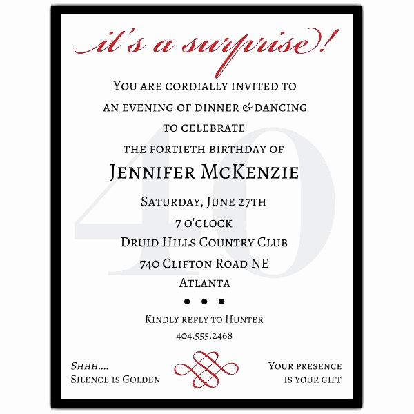 40th Birthday Invitation Wording Elegant Classic 40th Birthday Surprise Party Invitations