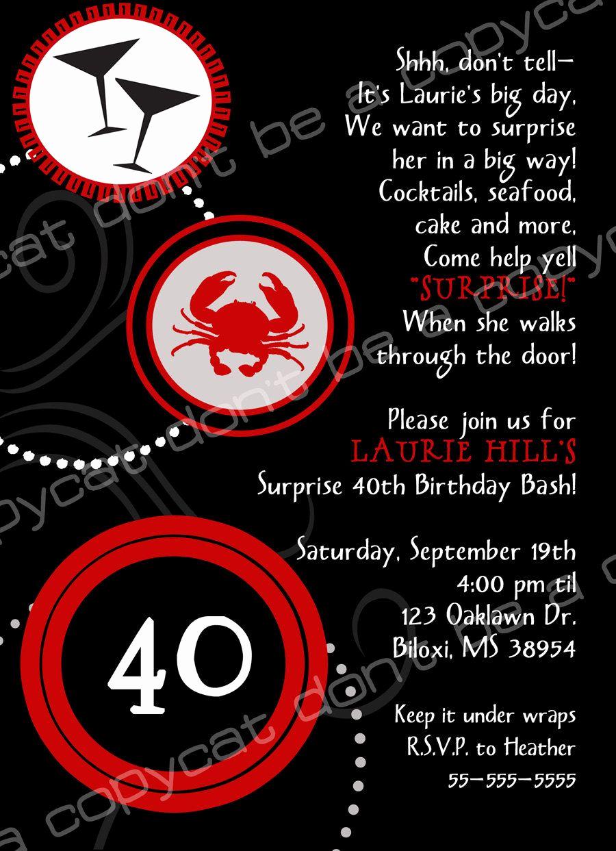 40th Birthday Invitation Wording Lovely 40th Birthday Invite Wording Surprise