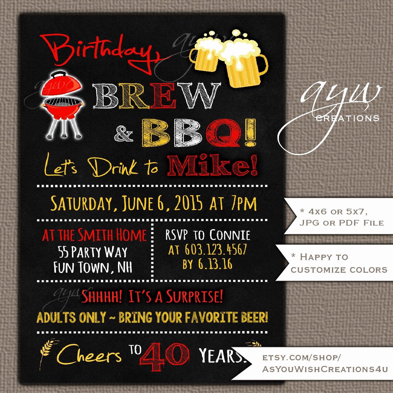 40th Birthday Invitation Wording Luxury 40th Birthday Invitation Brew and Bbq Invitation Printable