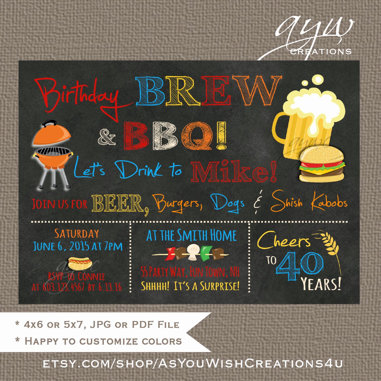 40th Birthday Invitation Wording Unique Brew and Bbq Birthday Party Invitation Printable Invitation