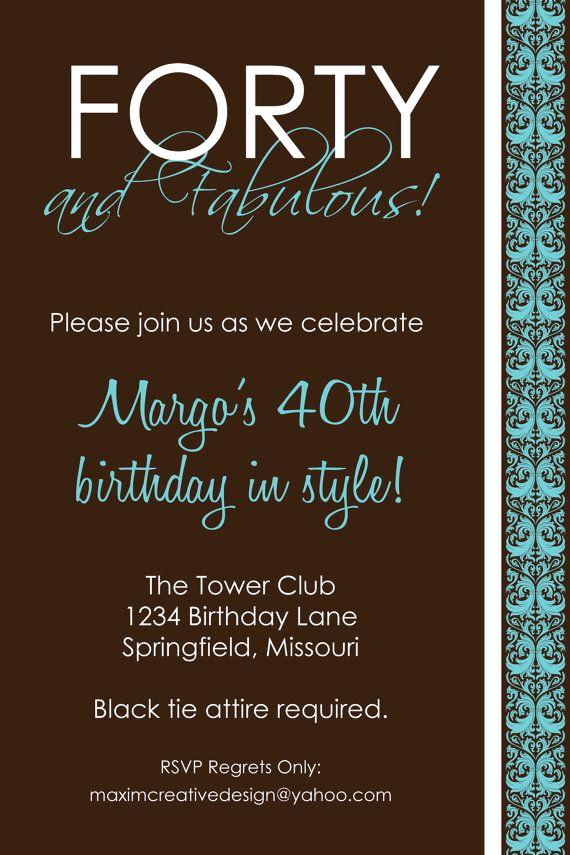 40th Birthday Invitation Wording Unique Diy Printable Invitation Birthday Party Birthday
