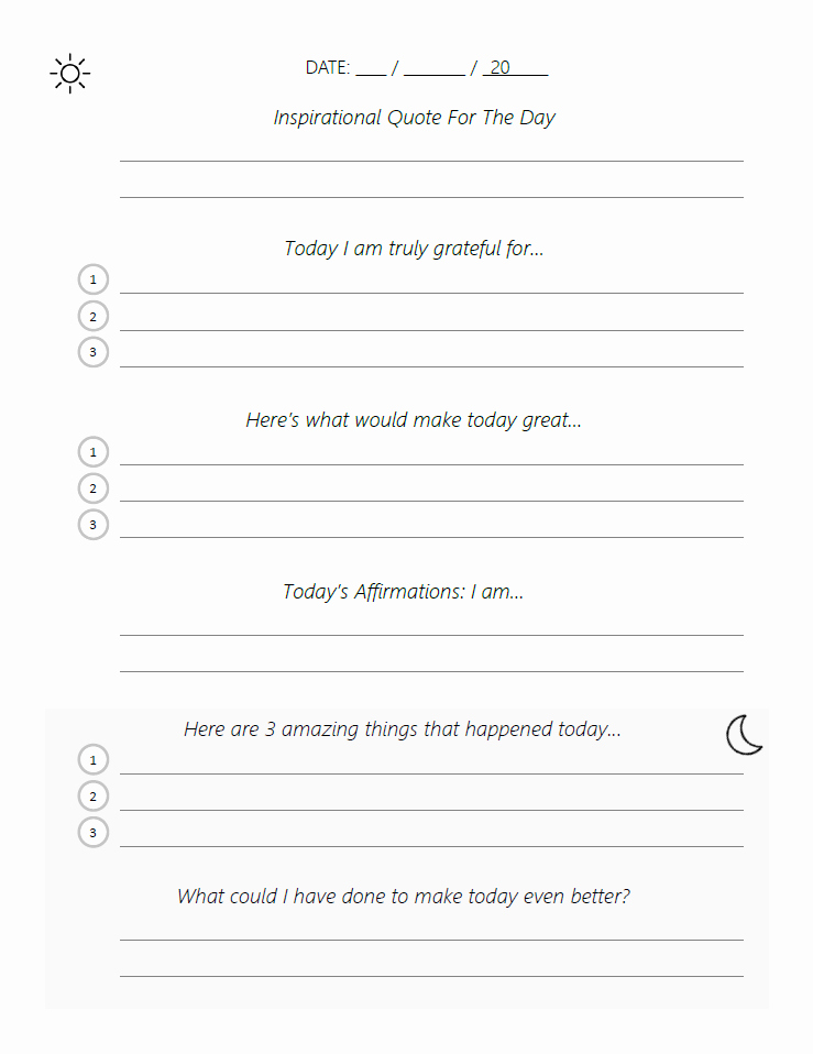 5 Minute Journal Pdf Inspirational Adapted Five Minute Journal Template Pdf – Beautiful