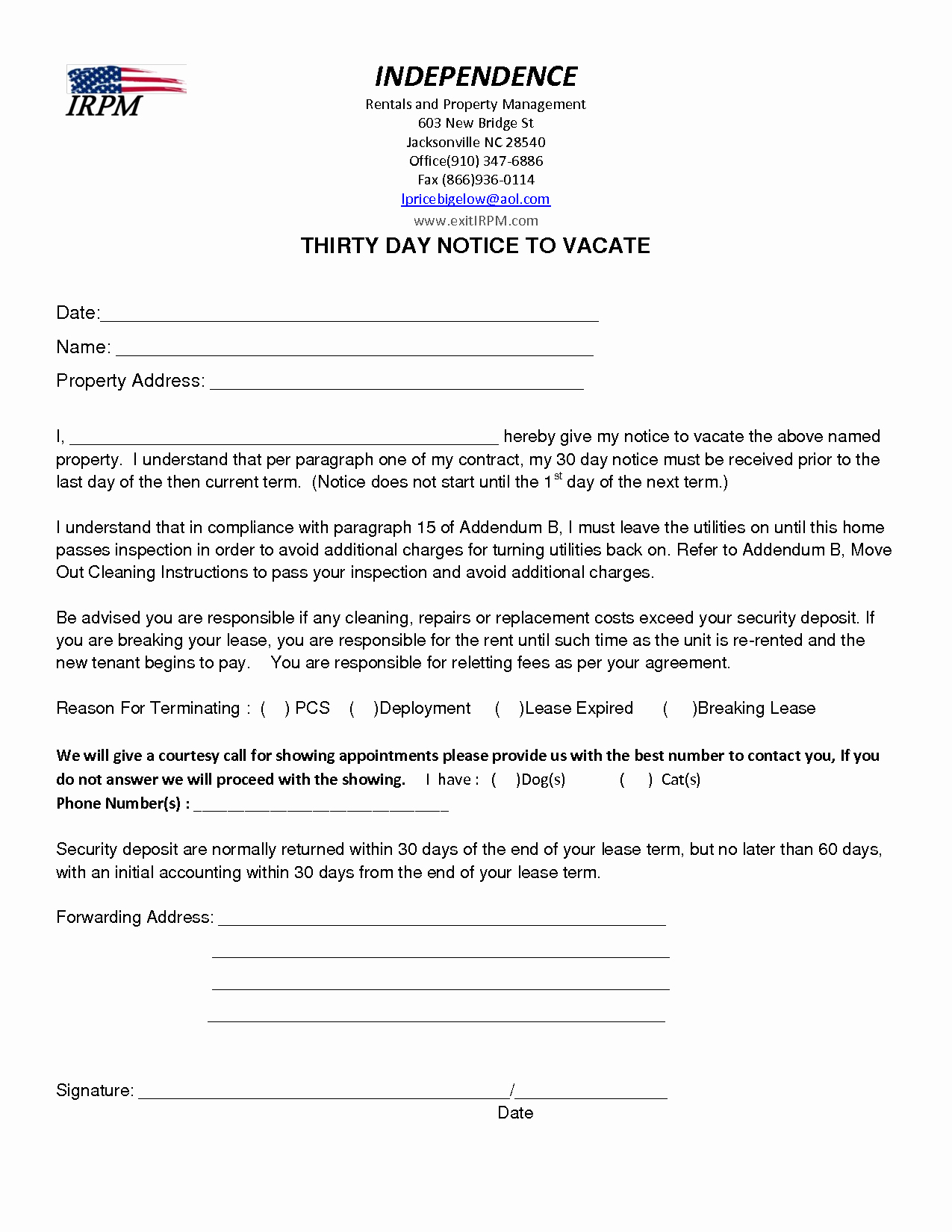 60 Day Apartment Notice Letter Awesome Notice Intent to Vacate Letter Template Collection