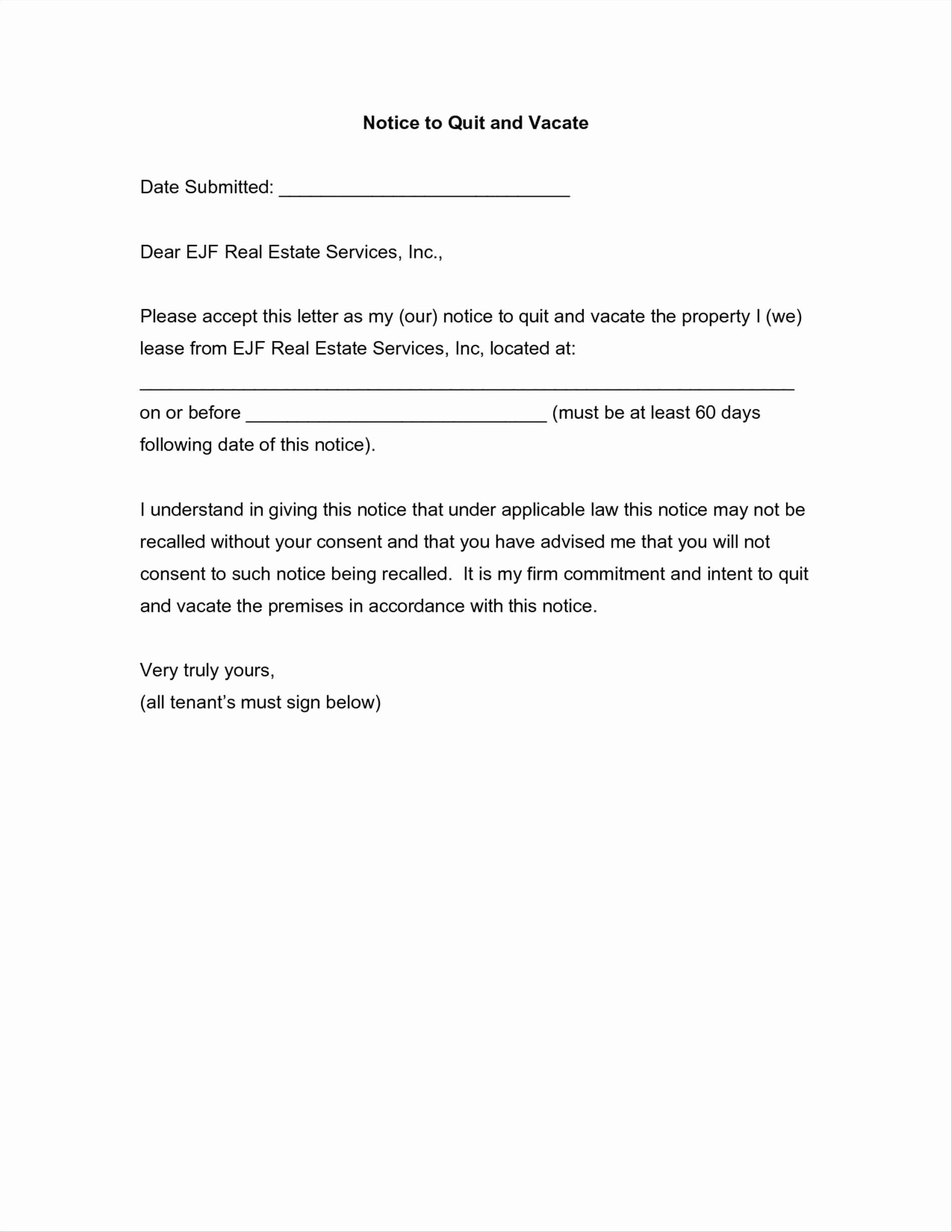 60 Day Apartment Notice Letter Beautiful Notice to Vacate Apartment Letter Template Samples