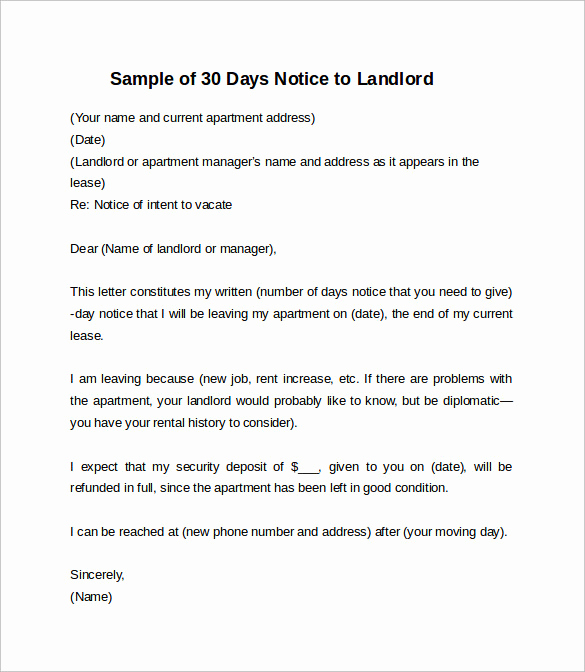 60 Day Apartment Notice Letter Lovely 10 Sample 30 Days Notice Letters to Landlord In Word