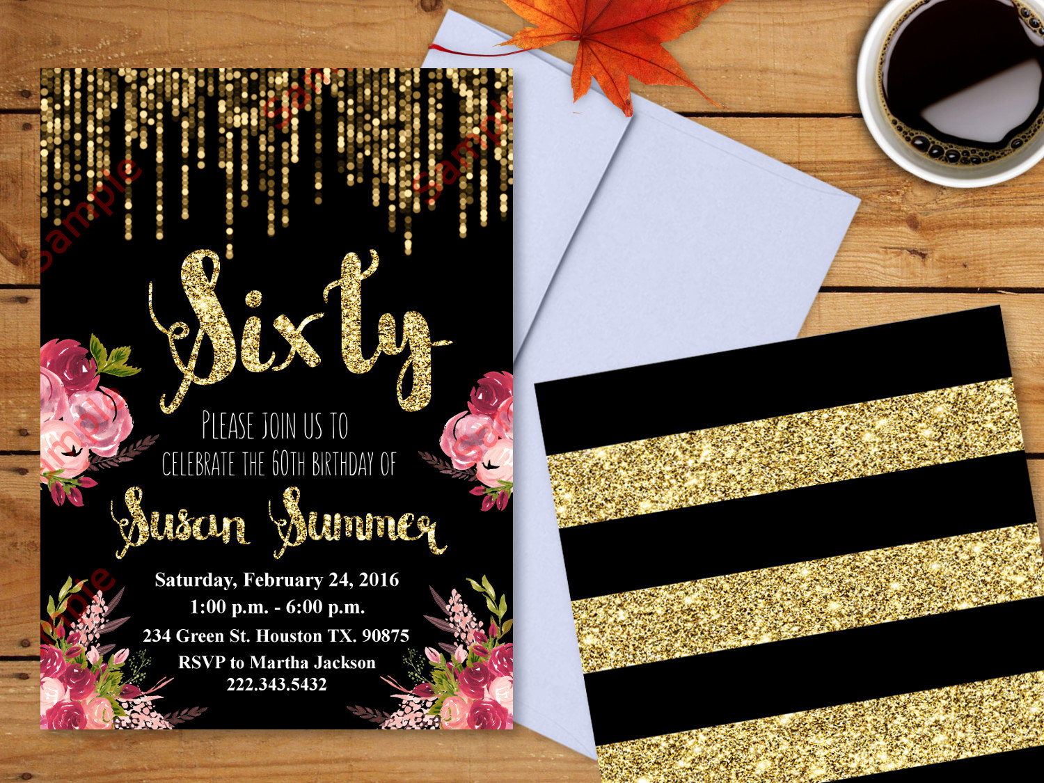 60 Th Birthday Invites Awesome 60th Birthday Invitation Gold Glitter Invitation Floral