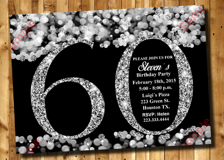 60 Th Birthday Invites Beautiful 60th Birthday Invitation Silver Glitter Invitation Adult