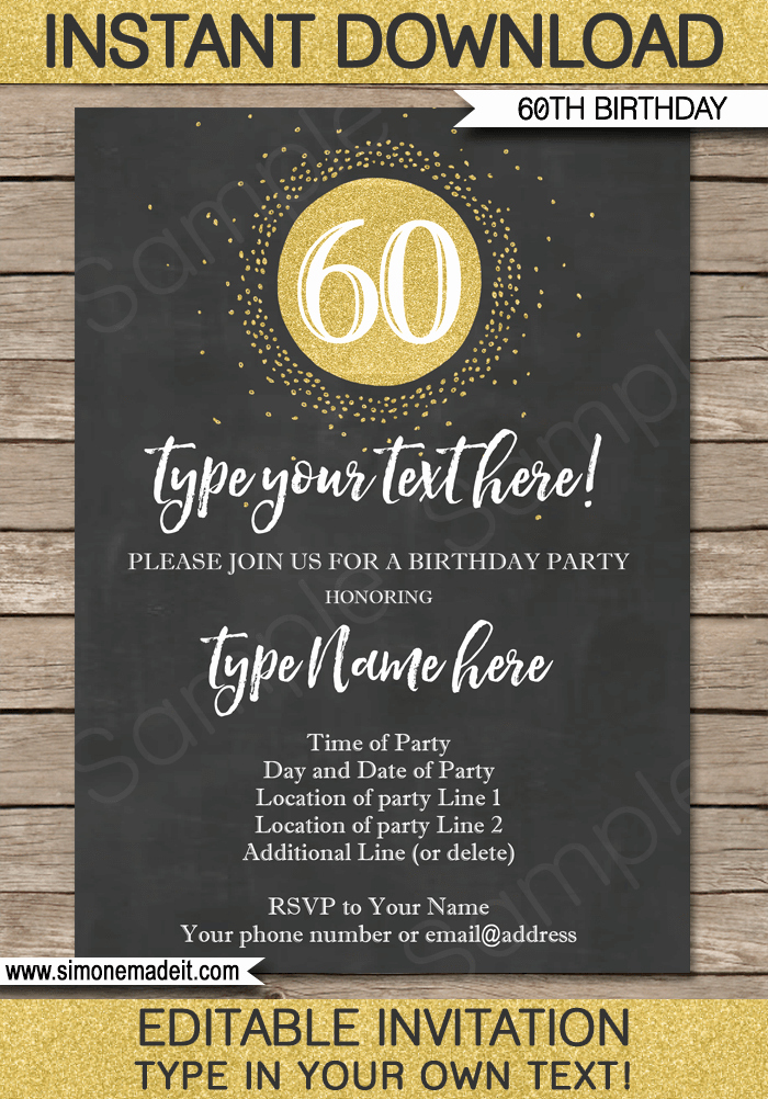 60 Th Birthday Invites Best Of Chalkboard 60th Birthday Invitations Template