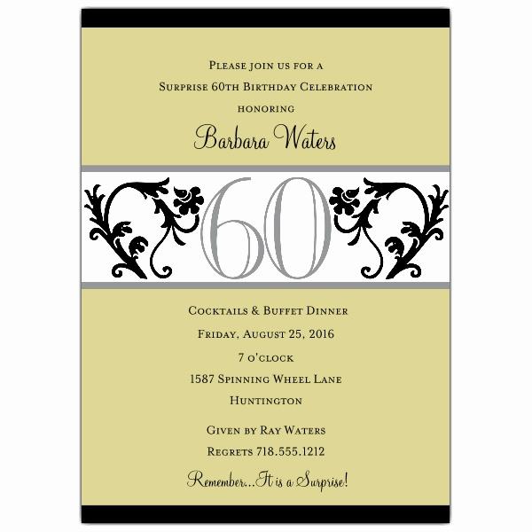 Elegant Vine Chartreuse 60th Birthday Invitations p 604 57 EVC60