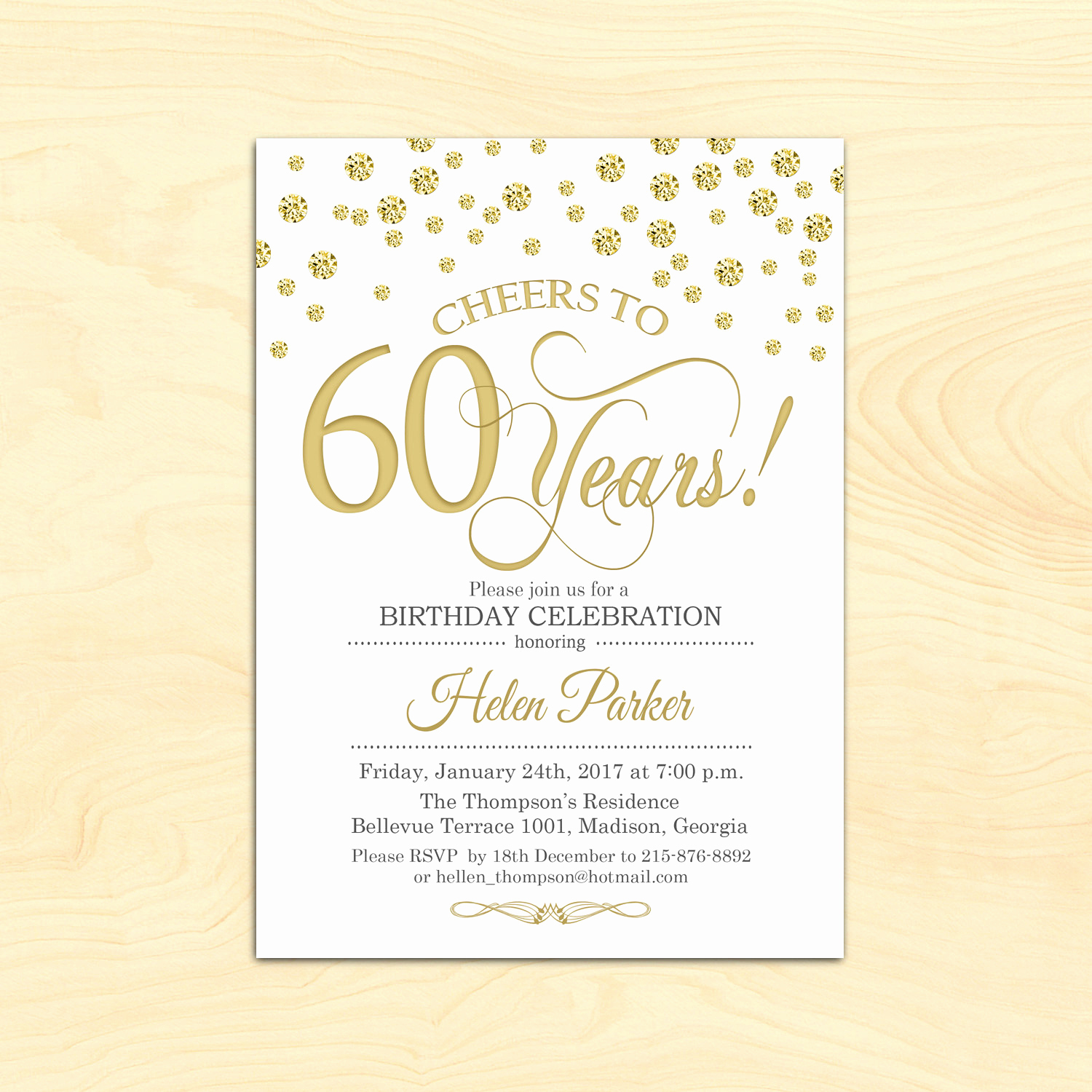 60 Th Birthday Invites Elegant 60th Birthday Invitation Any Age Cheers to 60 Years Gold