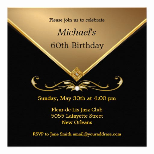 60 Th Birthday Invites Fresh Men S Elegant Gold Black 60th Brithday Invitations