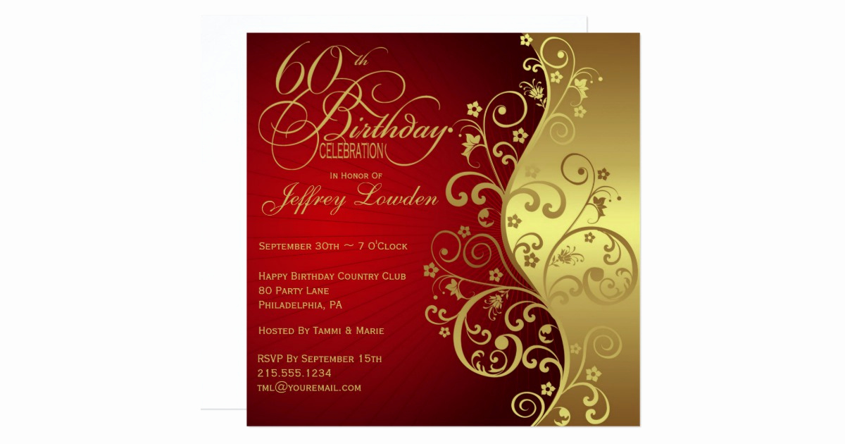 60 Th Birthday Invites Lovely Red & Gold 60th Birthday Party Invitation