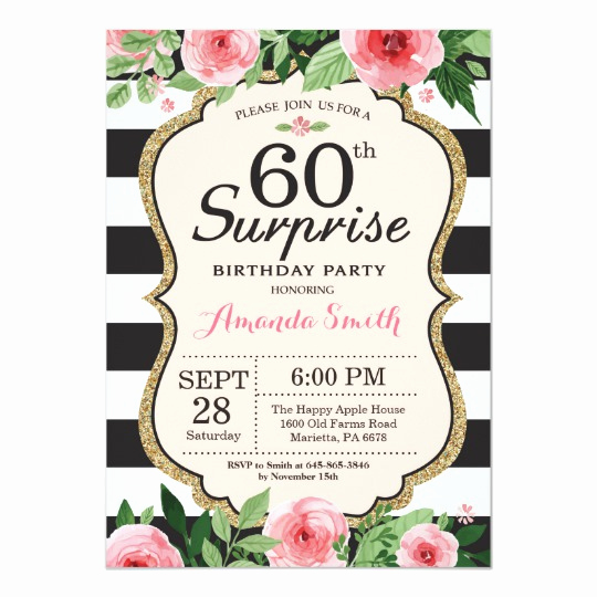 60 Th Birthday Invites Lovely Surprise 60th Birthday Invitation Women Floral