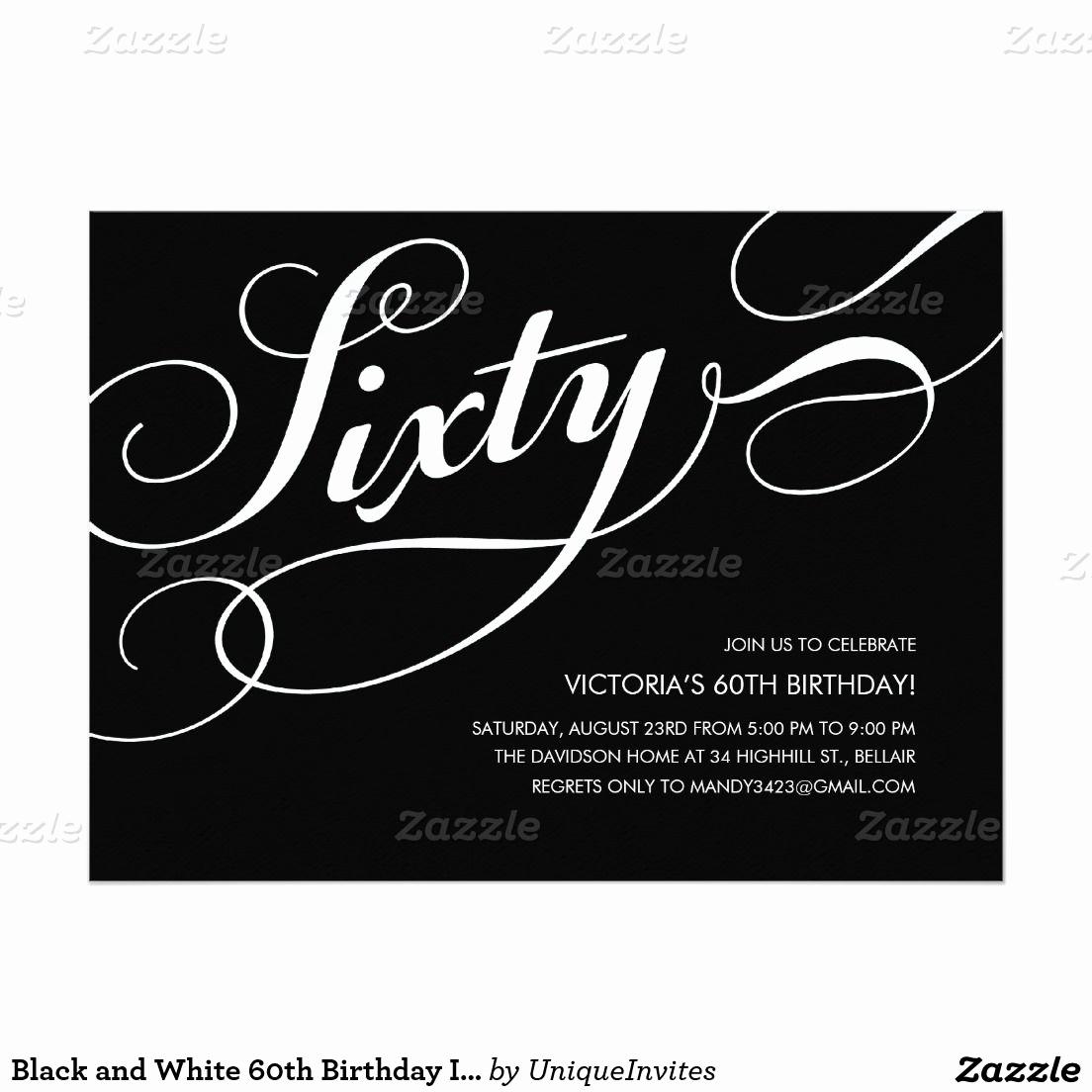 60 Th Birthday Invites New Black and White 60th Birthday Invitations