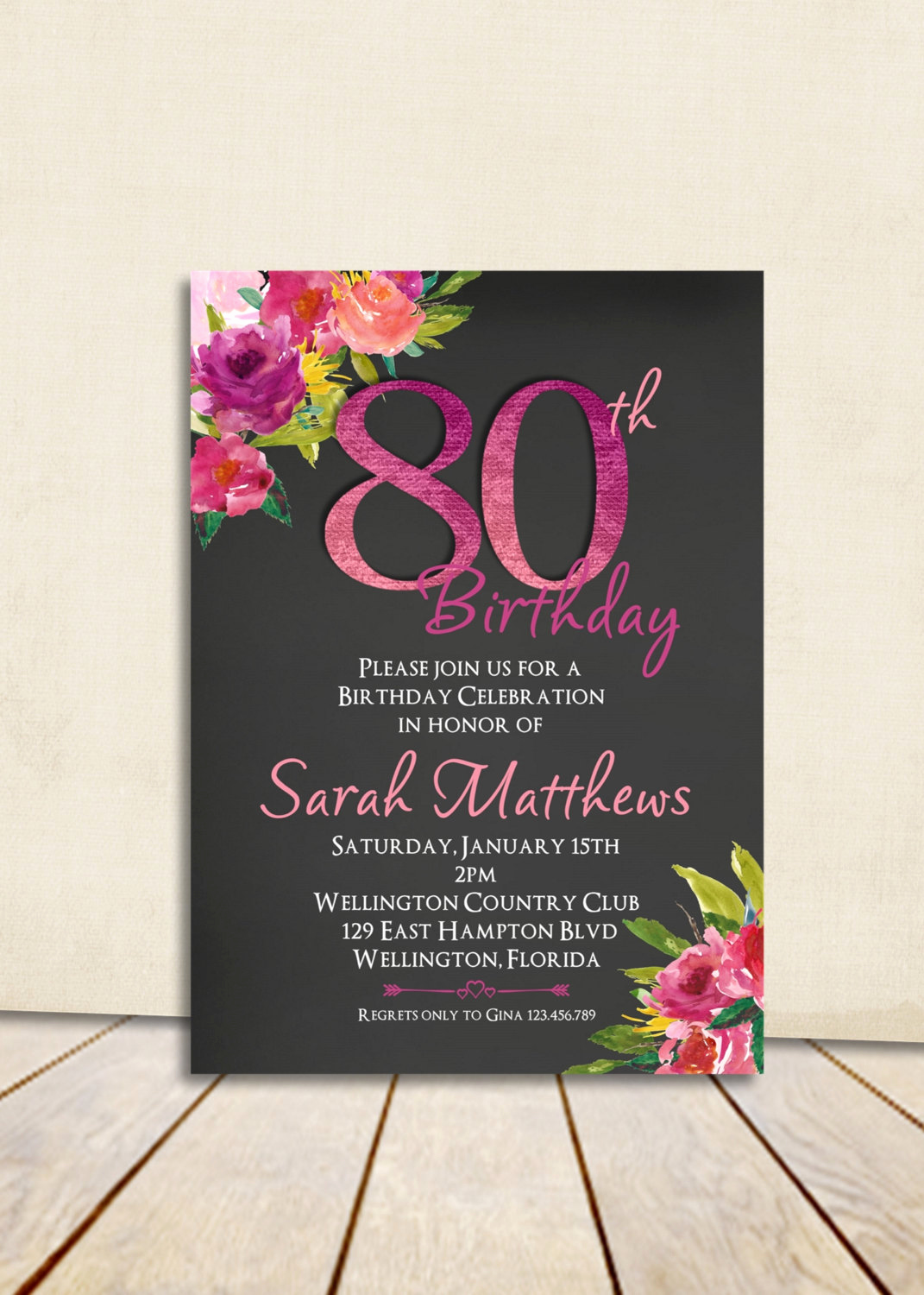 80th Birthday Party Invitations Awesome Watercolor Floral Chalkboard 80th Birthday Invitation