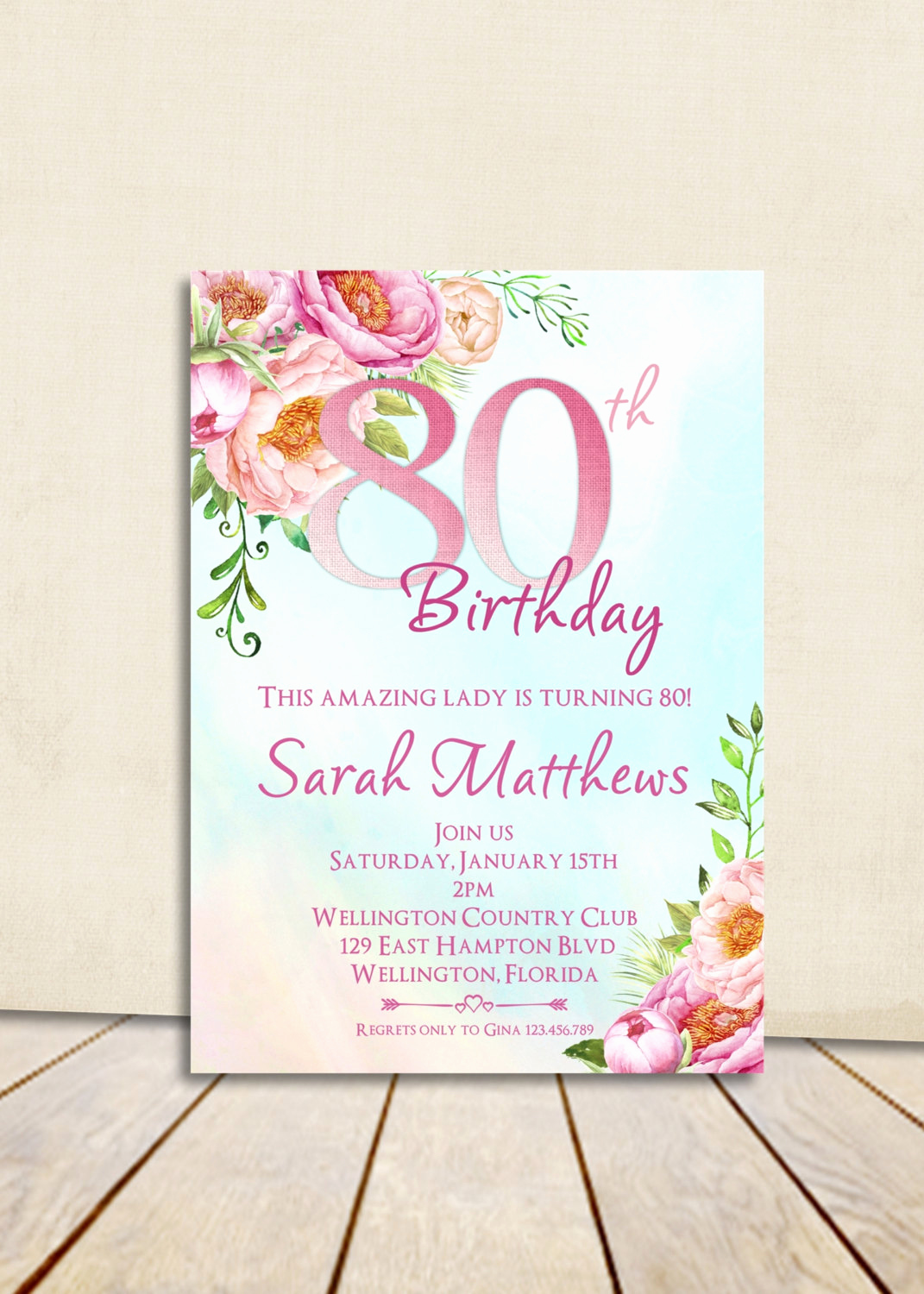 80th Birthday Party Invitations Beautiful 80th Birthday Invitation Adult Birthday Party Invite