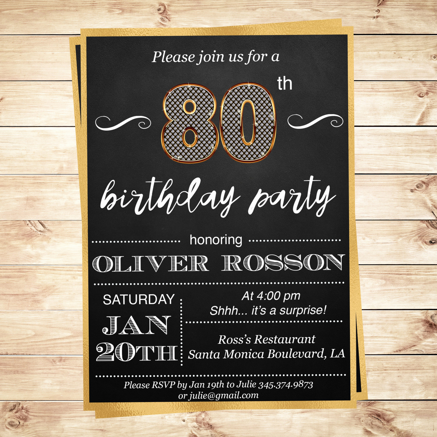 80th Birthday Party Invitations Beautiful 80th Birthday Surprise Party Invitation by Diypartyinvitation