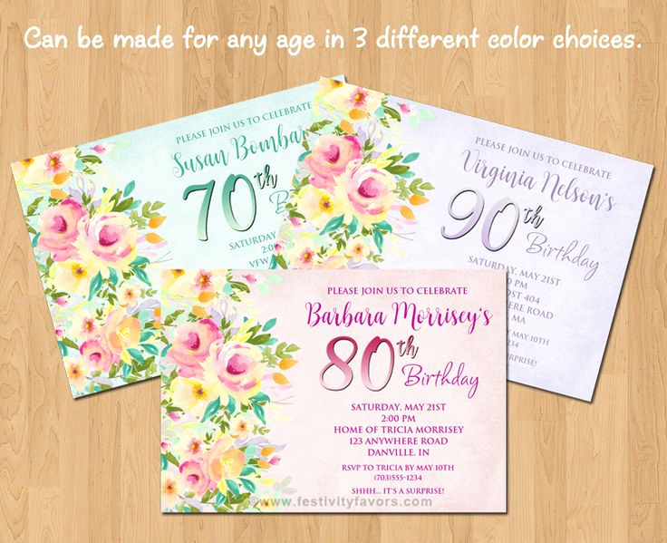 80th Birthday Party Invitations Beautiful Floral 60th 70th 80th 90th Birthday Party Invitations