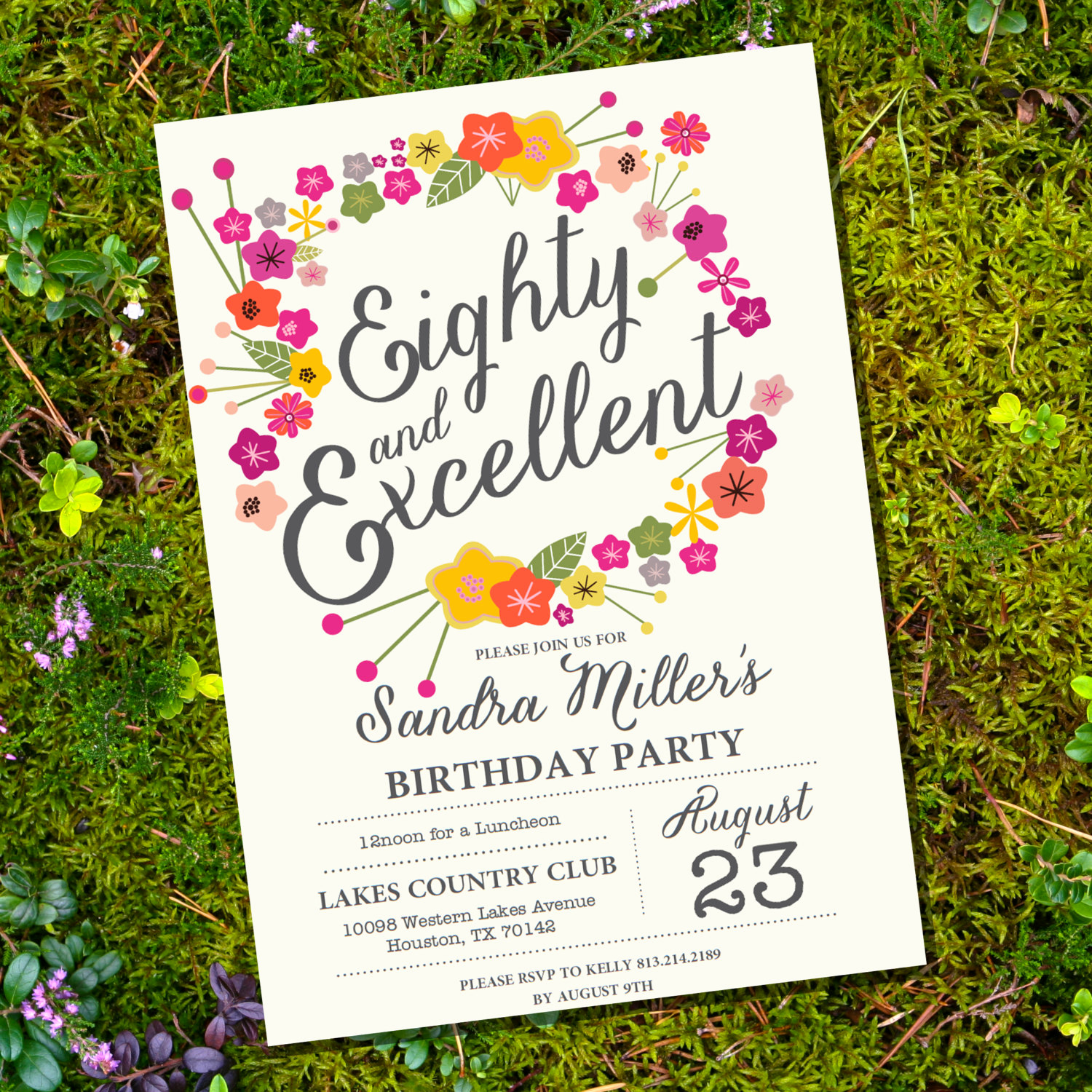 80th Birthday Party Invitations Beautiful Floral Eightieth Birthday Invitation 80th Birthday