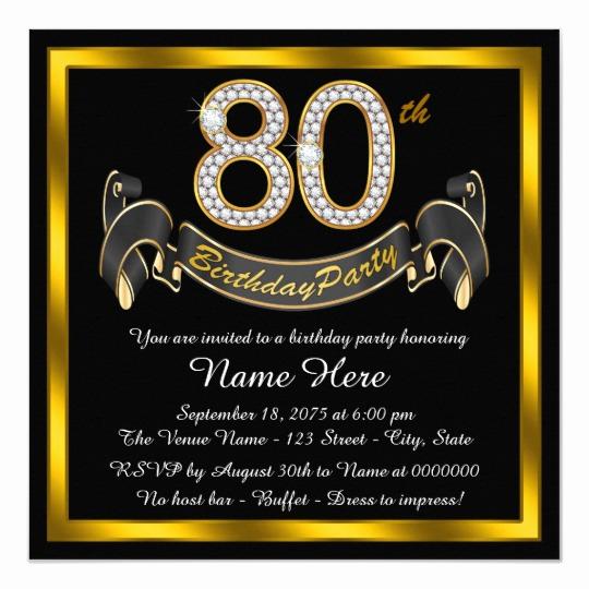 80th Birthday Party Invitations Best Of Elegant Gold 80th Birthday Party Invitation