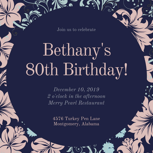 80th Birthday Party Invitations Fresh Customize 985 80th Birthday Invitation Templates Online