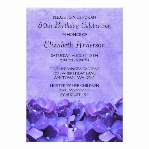 80th Birthday Party Invitations Fresh Purple Hydrangeas 80th Birthday Party Invitation Card