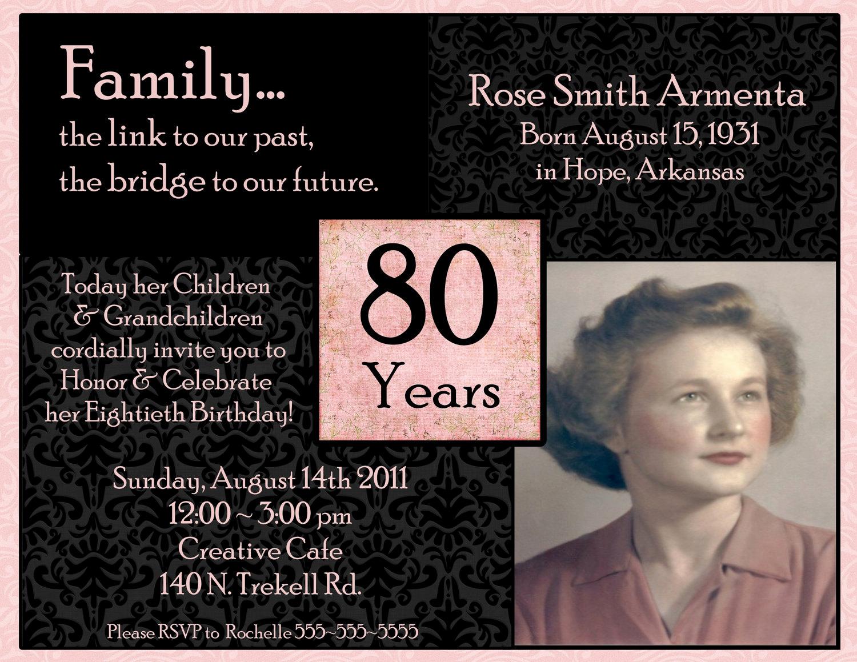 80th Birthday Party Invitations Inspirational 80th Birthday Digital Invitation by Stonelovedesigns On Etsy