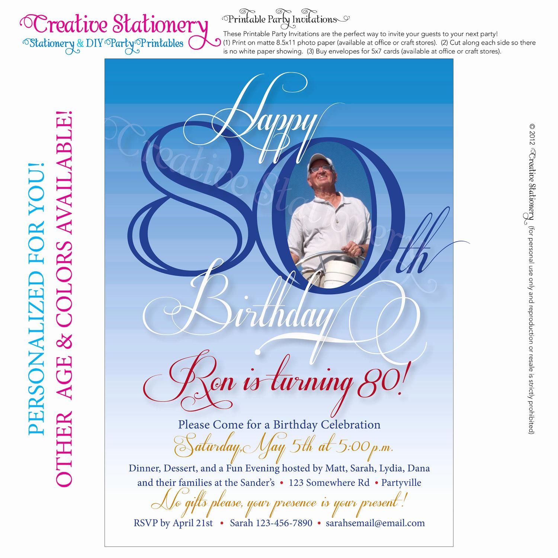 80th Birthday Party Invitations Inspirational Mens 80th Birthday Printable Milestone by Creativestationery