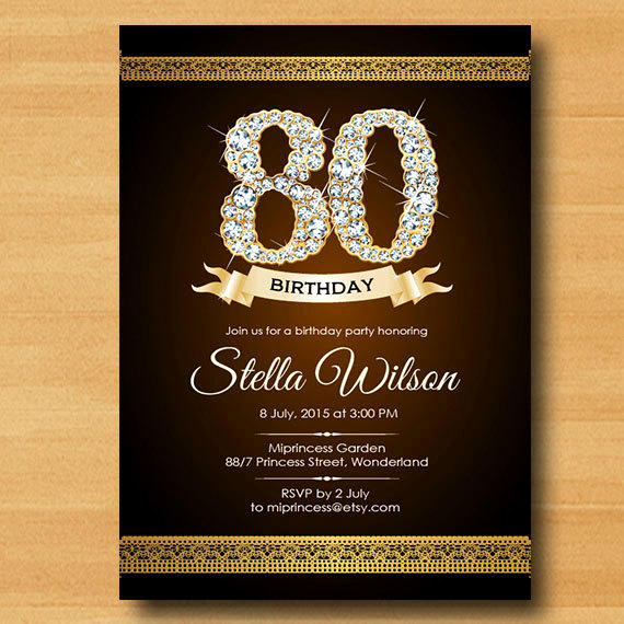 80th Birthday Party Invitations Lovely Glitter Birthday Invitation 30th 40th From Miprincess On Etsy