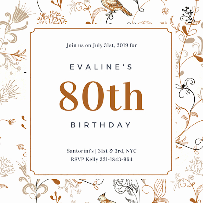 80th Birthday Party Invitations Lovely Invitation Maker Design Your Own Custom Invitation Cards