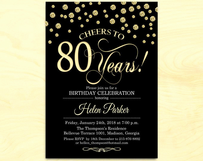 80th Birthday Party Invitations Luxury 80th Birthday Invitation Any Age Gold White Invite