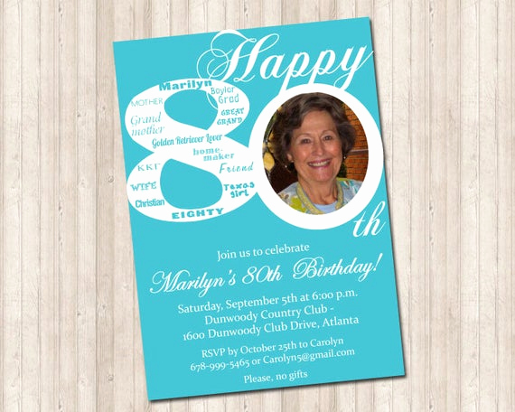 80th Birthday Party Invitations Luxury 80th Birthday Invitation with Picture Can Do Any Age