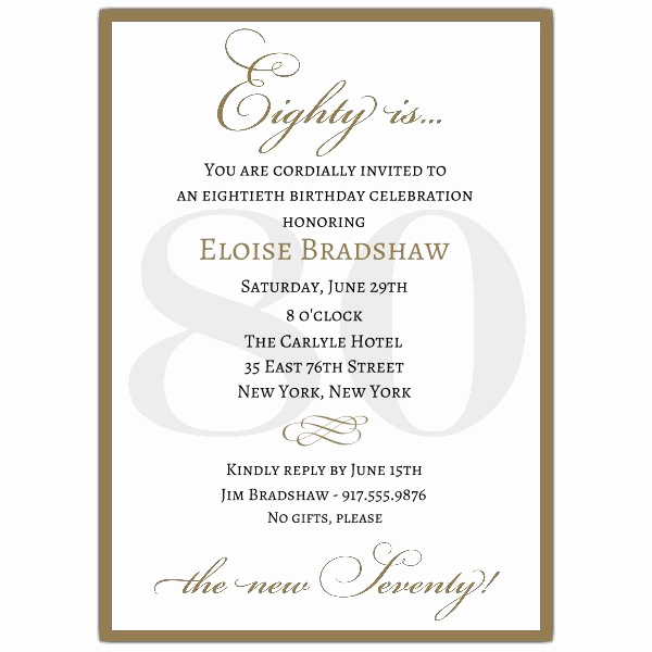 80th Birthday Party Invitations Luxury Classic 80th Birthday Gold Party Invitations