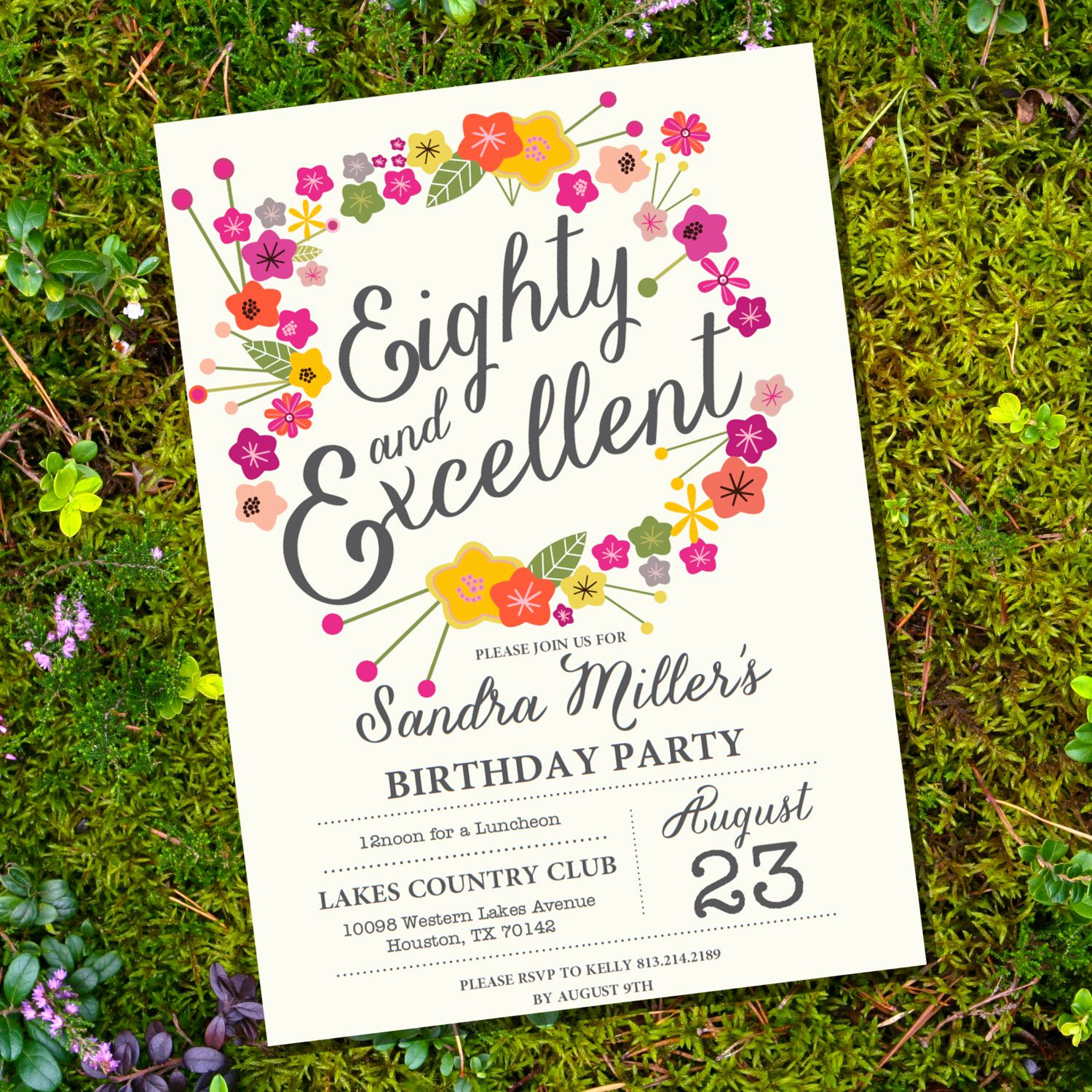 80th Birthday Party Invitations New Floral Eightieth Birthday Invitation 80th Birthday