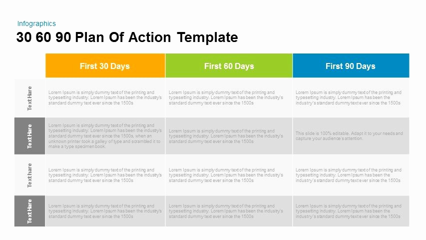 90 Day Plan Template Inspirational 30 60 90 Plan Action Powerpoint and Keynote Template