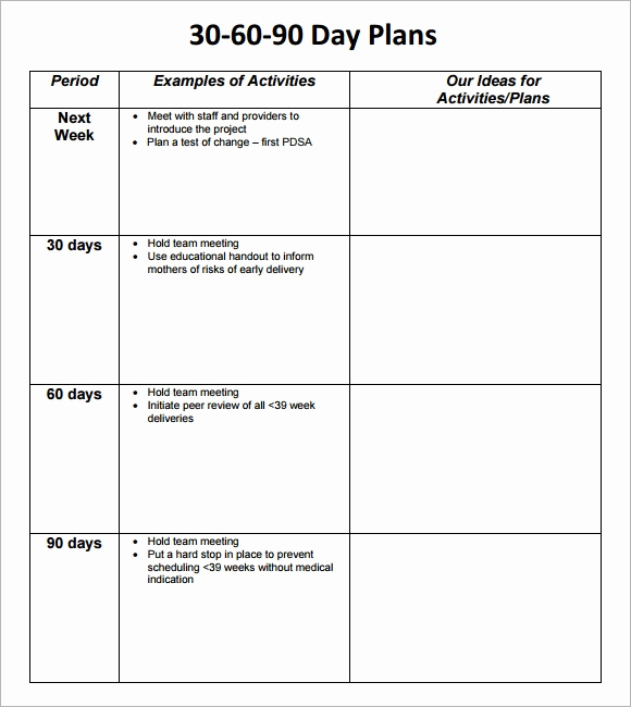 90 Day Plan Template Unique 30 60 90 Day Plan Template 8 Free Download Documents In Pdf