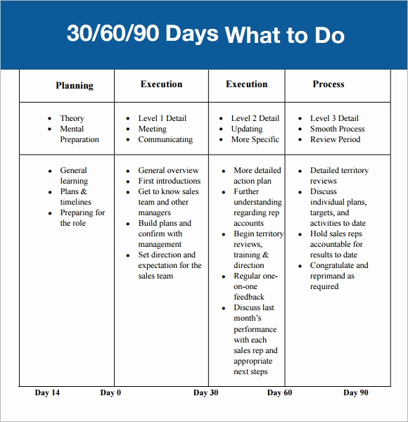 90 Day Review Template New 30 60 90 Day Plan Template