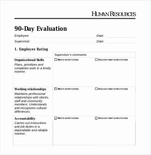 90 Day Review Template New 41 Sample Employee Evaluation forms to Download