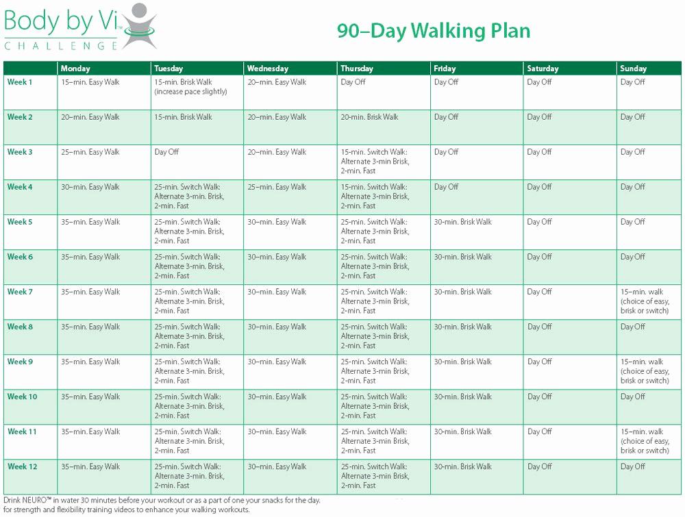 90 Day Workout Plan Awesome Body by Vi 90 Day Walking Plan