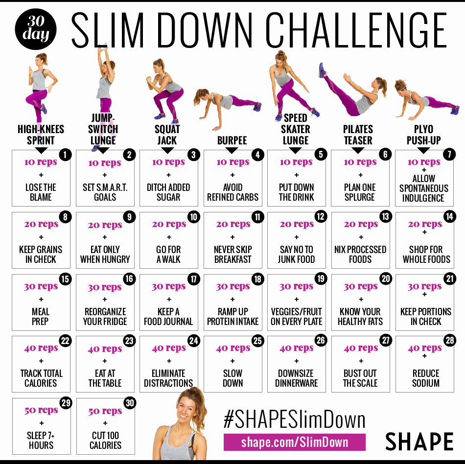 90 Day Workout Plan Luxury the 30 Day Shape Slim Down Weight Loss Challenge