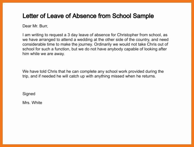Absence Note for School Fresh 6 7 School Holiday Request Letter