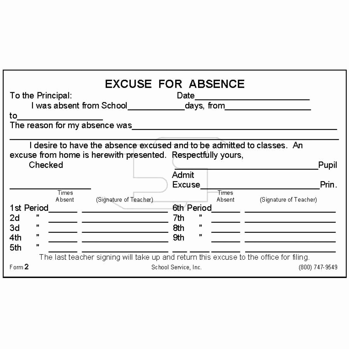 Absence Note for School Lovely 2 Period Excuse for Absence Padded forms