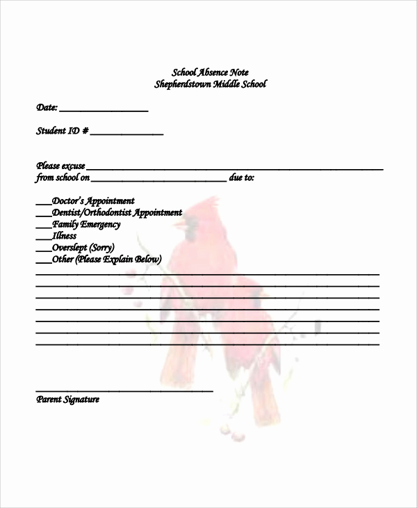 Absence Note for School Lovely Absence Note Sample 11 Examples In Word Pdf