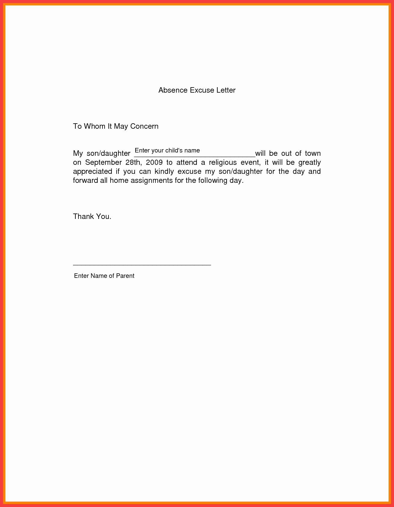 Absence Note for School Lovely School Excuse Letter Sample