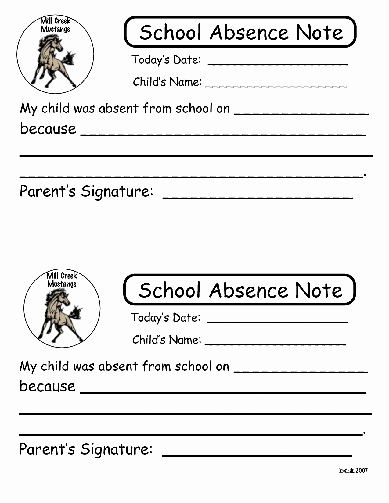 Absence Note for School Luxury Absent Note for School Example